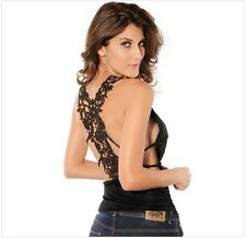 Sexy Women Low-Cut Vest V-Neck Hollow Lace Crochet Backless Shirt Top + *T-Back