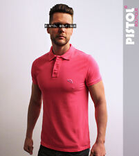 Pistol Boutique mens Pink Polo fashion t-shirt embroidered chest logo badge