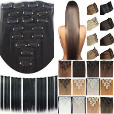 Hot Sale real Cheap 8 Piece Full Head Hair Extensions Black Brown Blonde Long XP