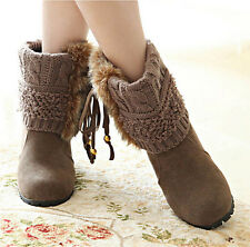 Women Winter Girl Mid-Calf Snow Wedge Bootie Boot Fur Tassel Winter Warm Shoes