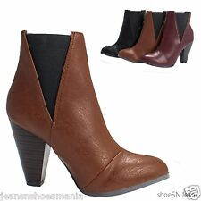 New Women Fashion Almond Toe Side Elastic Ankle Booties Chunky Block Heel Shoes