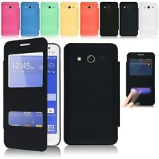 Dual View Window Leather Flip Battery Case Cover for Samsung Galaxy Core 2 G355H