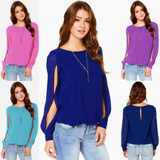 Women Soft Chiffon Long Sleeve Crew Neck Loose Solid Casual T-Shirt Tops Blouse