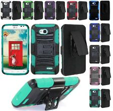 For LG Ultimate 2 / L41C Cell Phone Case Hybrid Hard Cover + Belt Clip Holster