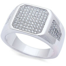 Men's Pave CZ  .925 Sterling Silver Fashion Ring Sizes 8-11