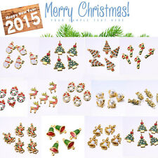 7PCS Mixed Gold Plated Enamel Merry Christmas Gifts Charms Pendant/Bracelet Gift