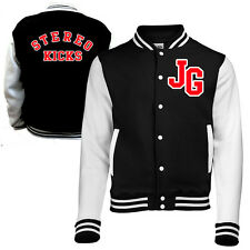 BLACK & WHITE VARSITY JACKET - STEREO KICKS FAN INSPIRED PRINTED BACK STREET