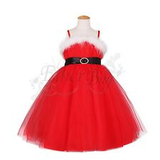 New Girls Kids Braces Bow Tulle Formal Party Dress Costume Size 3-8 Xmas Gifts