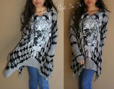VOCAL PLUS SIZE CRYSTAL BLACK GRAY SKULL AZTEC STAR TIE DYE TUNIC SHIRT 1X 2X 3X