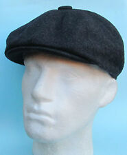 Flat Cap Dark Grey Wool Baker Boy 8 Panel News Boy Gatsby