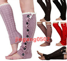 NEW Women Crochet Knit With Button Leg Warmers Lace Trim Toppers Boot Socks Cuff