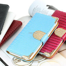 For HTC Desire 510 Color Crocodile Bling PU Leather Wallet Flip Pouch Case Cover