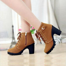 New Style Women Lace Up Zipper Lady Motorcycle High Heel Shoes Ankle Martin Boot