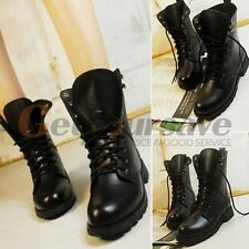 Black New Women's Lace-up Ankle Military Army Combat Boots Shoes Punk Boots