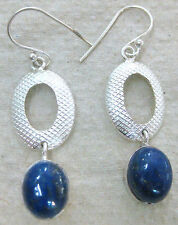 925 STERLING SILVER open oval BLUE real NATURAL LAPIS LAZULI drop long earrings