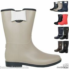 New Women Colors Mid Calf Jelly Rubber Rain Snow Boots Waterproof Low Heel Shoes