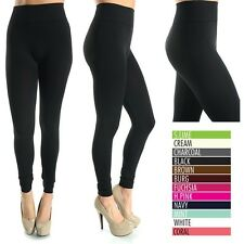 Seamless High Waist Leggings Solid Ankle Length Good Stretch Poly Span ONE SIZE