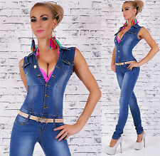 Women's Sleeveless Denim Jeans Jumpsuit Overall + Belt - S / M / L / XL