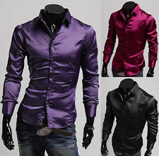 BIG CHEAP Hot LUXURY Satin Mens Long Sleeve Casual Shirts Slim Dress Shirts S~XL