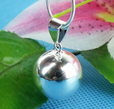 1pc New 925 Sterling Silver Ball Bell Pendant With Sound Necklace + Snake Chain