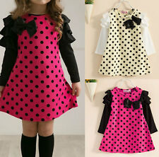 Stylish Cool Kids Girls Toddler Dots Clothes Clothing Skirt Dress Sz2-7Y
