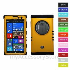 For Nokia Lumia 1020 Yellow Gold Hybrid Rugged Impact Armor Phone Case Cover