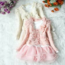 Girls Outfits Jacket Tutu Top Dress Toddler Party Pageant SZ 3-6T Flower clothes