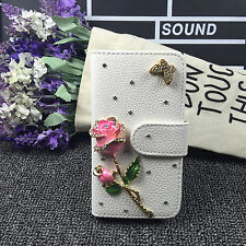 Bling rose Wallet Card Holder PU Leather Phone Flip Case Cover For Samsung 2