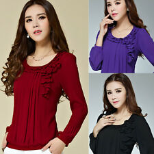 Ladies Crew Neck Women's Ruffle Pleated Tops Long Sleeve Shirt Casual Blouse