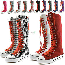 Woman Canvas Mid Calf Tall Boots Casual Sneaker Punk Flat Rose Red Shoelace