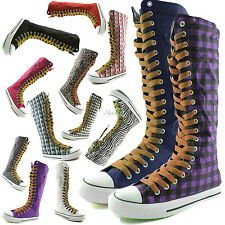 Woman Canvas Mid Calf Tall Boots Casual Sneaker Punk Flat Cognac Shoelace