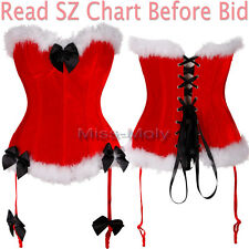 Fashion Lace Up Overbust Chirstmas Xmas Corset Bustier Lingerie Plus S-6XL US H2
