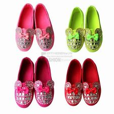 Fall Girls Kids Baby Toddler Bling Rhinestone Bow Candy Soft Flat Sneaker Shoes