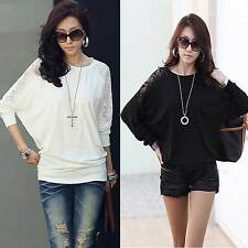 Women's Hollow Batwing Loose Blouse Top T-Shirt Dolman Lace Long Sleeves