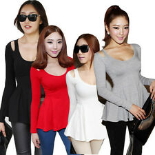 Women Fashion Low Crew-Neck Long Sleeve Peplum Top Blouse Cute Tee T-Shirt KK