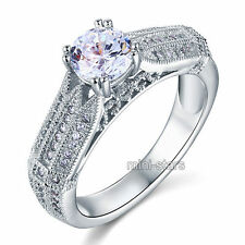 925 Sterling Silver Wedding Engagement Ring Created Diamond FR8109