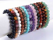 8mm Fashion round gemstone beads stretchable bracelet 7.5""