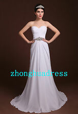 Stock White/Ivory Chiffon Strapless Wedding Dress Bridal Gown US Size 2 to 22