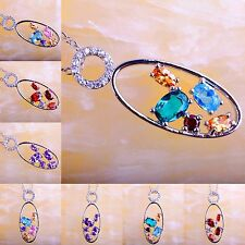 Christmas Gift Amethyst & Ruby Spinel Blue &Green Topaz Gemstone Silver Necklace
