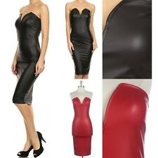 Dull Foil Faux Leather V Cut Center Tube Dress Strapless Sexy Clubwear S M L