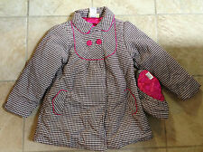 Penelope Mack Girl's Brown Houndstooth Coat with Beret 100% Cotton Shell NWT $75
