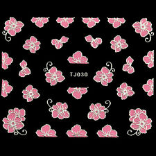 3D Embossed Pink Flowers rose Design Nail Art Decal Tips Stickers Sheet Manicure