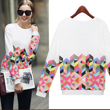 New Women Loose Geometry Pullover T Shirt Long Sleeve Cotton Top Blouse Shirt