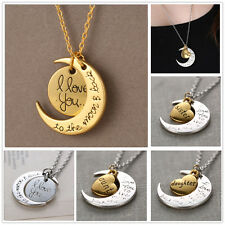 Fashion New Charms Jewelry I Love You To The Moon And Back Necklace Pendant Gift