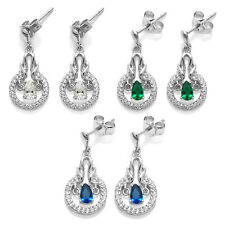 Sterling Silver Dangling 0.25 Ct Pear Cut CZ w/Accents Earrings (Choose Color)