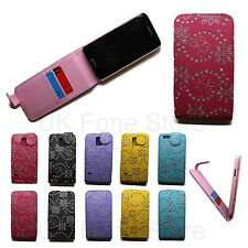 Bling Diamond Sparkly Flower Up Vertical Flip Case Cover Card Mobile Pouch