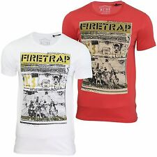 Mens T Shirt Firetrap 'Route 66' Crew Neck USA Graphic Print Jersey Top