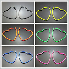 "Free NEW 2"" Fluorescent Heart colors Hiphop Punk Big Hoop Circle Earring 53mm"