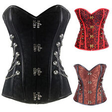 Sexy Plus Size S-6X Steel Boned Gothic Overbust Lace-Up Corset Steampunk Bustier