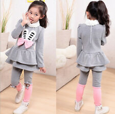 Spring new Korean small chili with paragraph bunny ears girls suits Kids